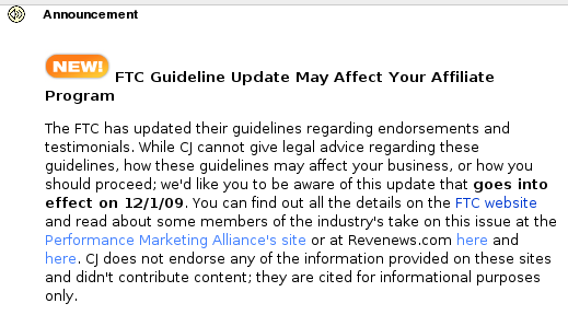 Announcement at CJ re: FTC Guidelines